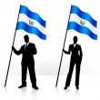 Business silhouettes with waving flag of El Salvador — Stock Vector