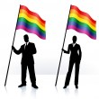 Vector de stock : Business silhouettes with waving flag of Gay Pride