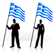 Business silhouettes with waving flag of Greece — Stock Vector #6030081