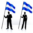 Постер, плакат: Business silhouettes with waving flag of Honduras