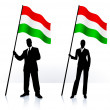 Business silhouettes with waving flag of Hungary - Stock Vector