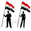 Business silhouettes with waving flag of Iraq — Stock Vector