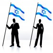 Business silhouettes with waving flag of Israel — Stock Vector