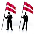 Business silhouettes with waving flag of Latvia - Stock Vector