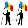 Business silhouettes with waving flag of Moldova — Stock Vector