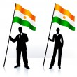 Business silhouettes with waving flag of Niger - Stock Vector