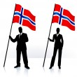 Business silhouettes with waving flag of Norway — Stock Vector