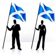 Business silhouettes with waving flag of Scotland — Stock Vector