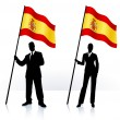 Business silhouettes with waving flag of Spain — Stock Vector
