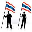 Business silhouettes with waving flag of Tailand — Stockvectorbeeld