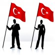Business silhouettes with waving flag of Turkey — Stock Vector