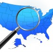 United States Map Under Magnifying Glass — Stock Vector