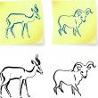 Wild ram and gazelle on post it notes - Stok Vektör