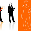 Young business woman silhouettes - Stock vektor