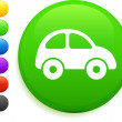 Car icon on round internet button — Image vectorielle