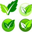 Royalty-Free Stock Vector Image: Leaves on Buttons