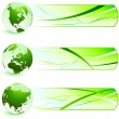 Green Nature Icons  with Banners - Stock Vector