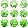 Green Globe Set - Stock Vector