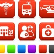 Medical Icons on Square Internet Buttons — Stock Vector