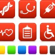 Medical Icons on Square Internet Buttons - Stock Vector
