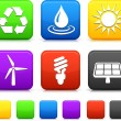 Nature Environment icons on square internet buttons — Stock Vector