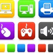 Technology Icons on Square Internet Buttons - Image vectorielle