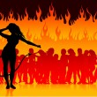 Party in hell with she devil - Stock Vector