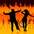 Devils dancing in hell background with skeletons and fire — Stock Vector