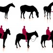 Horse and Jockey Silhouette Set — Stock Vector #6030638