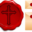 Cross on Wax Seal - Stock Vector