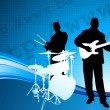 Stock Vector: Musical Band on Internet Background