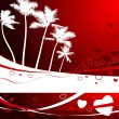 Romantic tropical background for valentine's day — Stockvectorbeeld