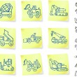 Construction Vehicles on Post It notes - Stock Vector