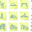 Construction Signs on Post it Notes — Stockvectorbeeld