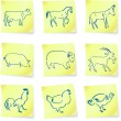 Farm animal collection on post it notes — Image vectorielle