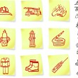 Firefighter Equipment on Post it Notes - Stock Vector