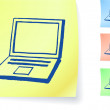 Hand-drawn laptop computer on sticky note — Stock Vector