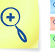 Magnifying glass graphic on sticky note - Stockvectorbeeld