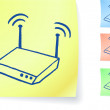 Royalty-Free Stock ベクターイメージ: Router graphic on sticky note