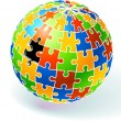 Stock Vector: Incomplete Multi Colored Globe Puzzle