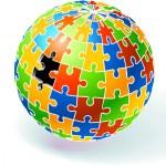 Incomplete Multi Colored Globe Puzzle — Stock Vector