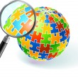 Multi Colored Globe Under Magnifying Glass — Stock Vector
