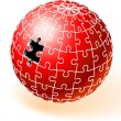 Stock Vector: Incomplete Red Globe Puzzle