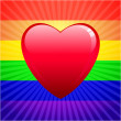 Heart on glowing Gay Pride background — Imagen vectorial