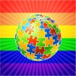 Globe Puzzle for gay Rights — Stock Vector