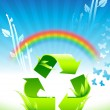 Stock Vector: Recycling sign on Rainbow Environmental Conservation Background