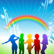 Sexy young women dancing on rainbow nature background — Stock Vector