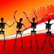 Skeletons Partying on abstract red Background — Stock Vector