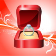 Diamond Ring on Red Background — Stock Vector