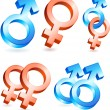 Male and Female Gender Symbols — Stock vektor
